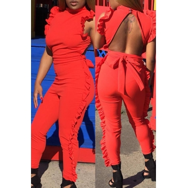 Lovely Casual Round Neck Ruffle Design Red Polyester One-piece Jumpsuits