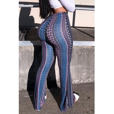 LovelyCasual Hight Waist Printing Polyester Pants