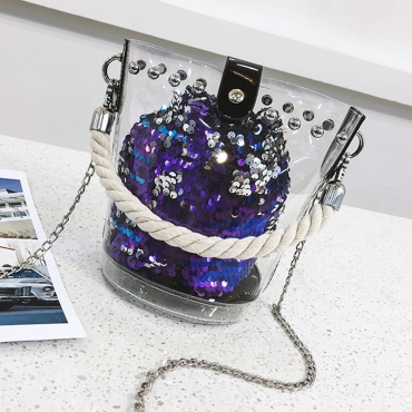 Lovely Fashion Sequin Decorate Crossbody Bag