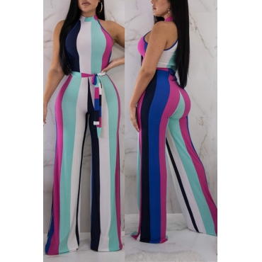 Lovely Fashion Striped Polyester One-piece Jumpsuit