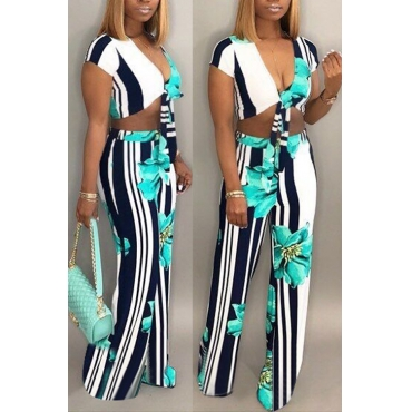 Lovely Trendy V Neck Printed Green Polyester Two-piece Pants Set