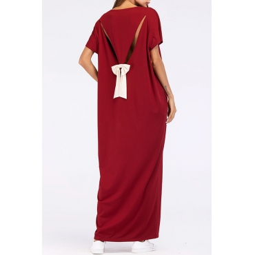 Lovely Casual Round Neck Bow Wine Red Polyester Cotton Ankle Length Dress
