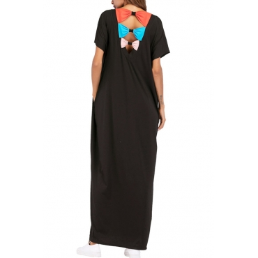 Lovely Chic Round Neck Bow Black Polyester Cotton Ankle Length Dress