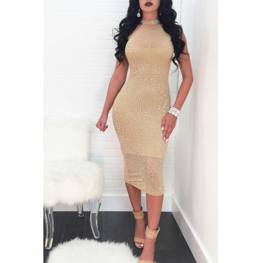 Lovely Healthy Fabric Sexy Off The Shoulder Sleeveless O Neck Mid Calf Sheath Dresses