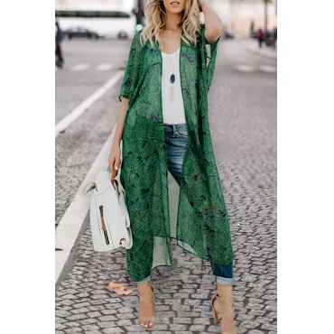 Lovely Fashion Printing Green Chiffon Cover-Ups(With Belt)