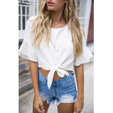 Lovely Casual Round Neck Knot White Blending Shirts