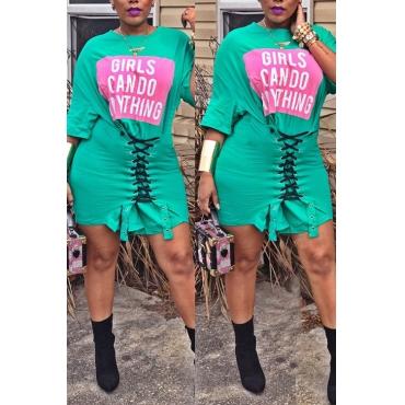 Lovely Euramerican Lace-up Green Blending Mini Dress