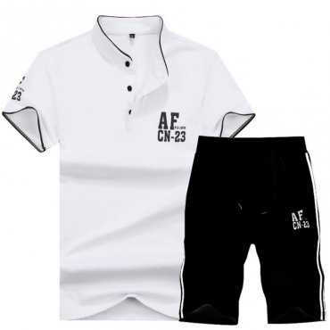 Lovely Casual Turndown Collar Printing White Cotton Two-piece Shorts Set for men