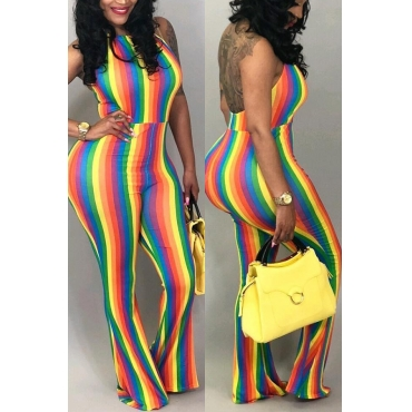 Lovely Sexy Halter Neck Backless Striped Qmilch One-piece Jumpsuits