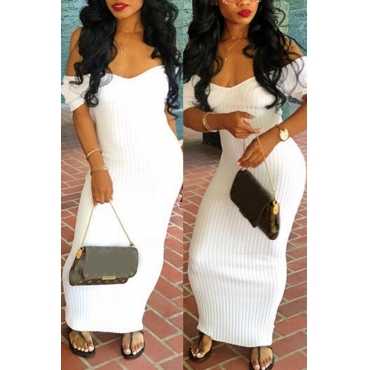 Lovely Sexy V Neck White Cotton Blends Sheath Ankle Length Dress