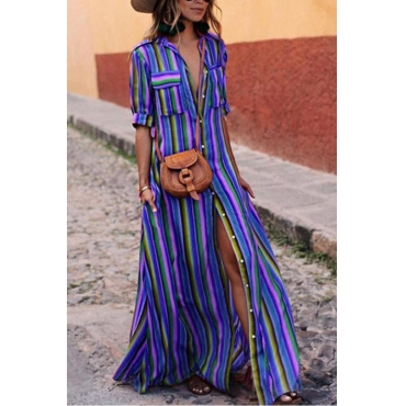 Lovely Fashion Turndown Collar Colorful Striped Blue Polyester Floor Length Dress