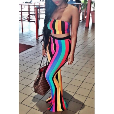 LovelySexy Bateau Neck Colorful Striped Polyester Two-piece Pants Set