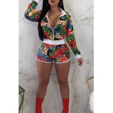 Lovely Fashion Turndown Collar Floral Printed Knitting Two-piece Shorts Set