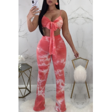 Lovely  Fashion V Neck Printing Red Polyester Two-piece Pants Set