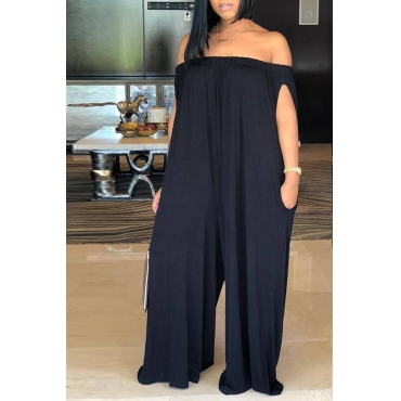 Lovely Casual Dew Shoulder Black Cotton Blends One-piece Jumpsuit