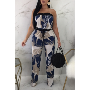 LovelyFashion Bateau Neck Printing Blue Qmilch One-piece Jumpsuits