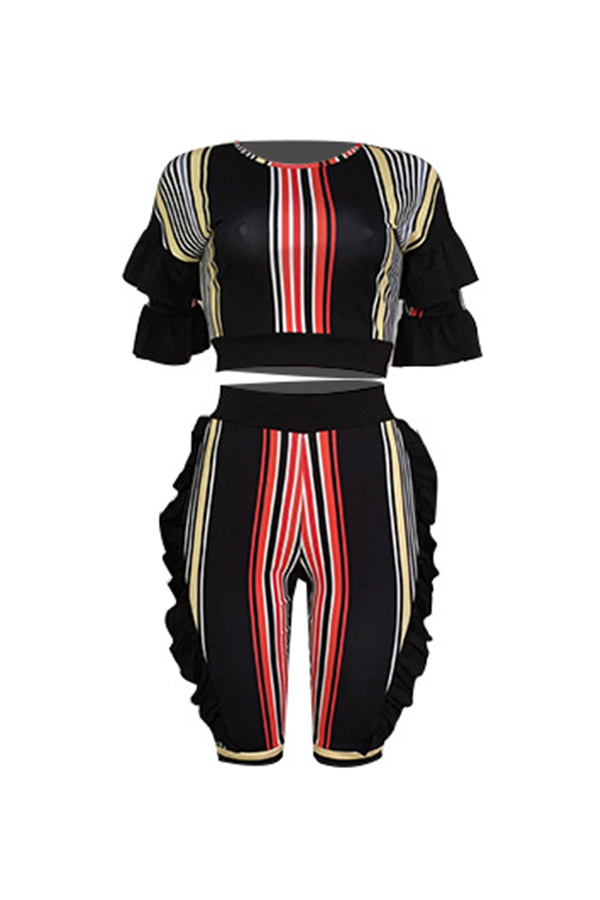 Lovely Fashion Striped Printed Black Polyester Two-piece Short Set