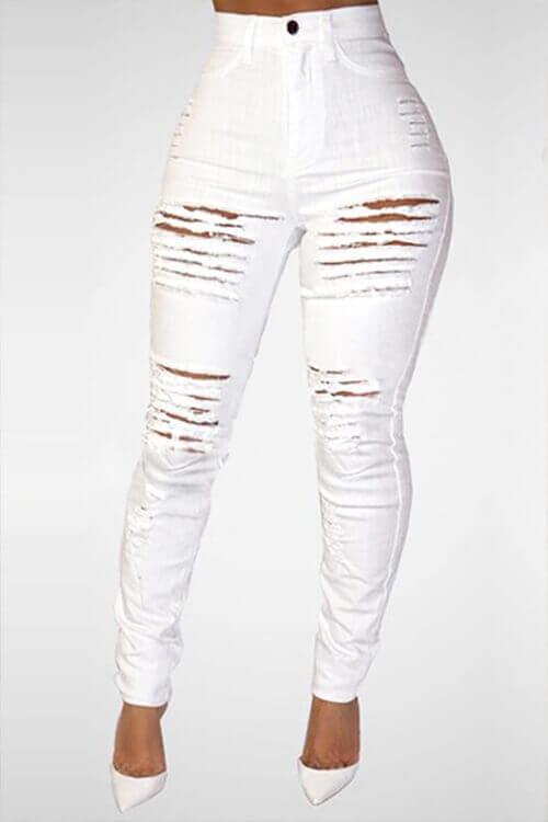 Lovely Trendy High Waist Broken Holes White Denim Skinny Jeans