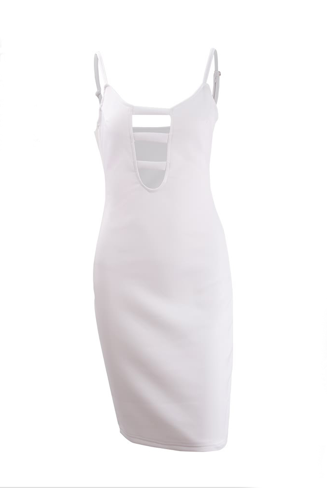 LovelySexy V Neck Spaghetti Strap Sleeveless White Cotton Sheath Knee Length Women Dress