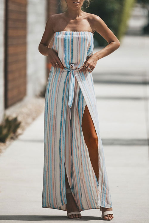 Lovely Fashion Bateau Neck Non Positioning Colorful Striped Chiffon One-piece Jumpsuits