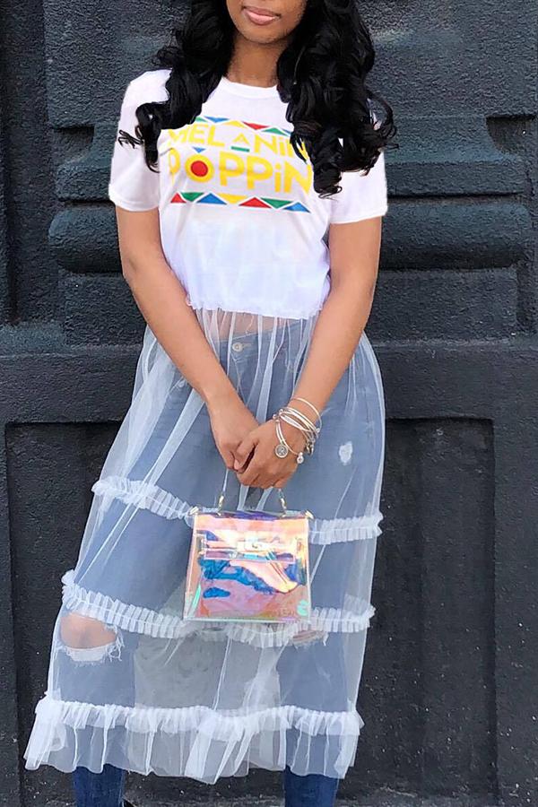 LovelyStreet Round Neck Letter Patchwork White T-shirt