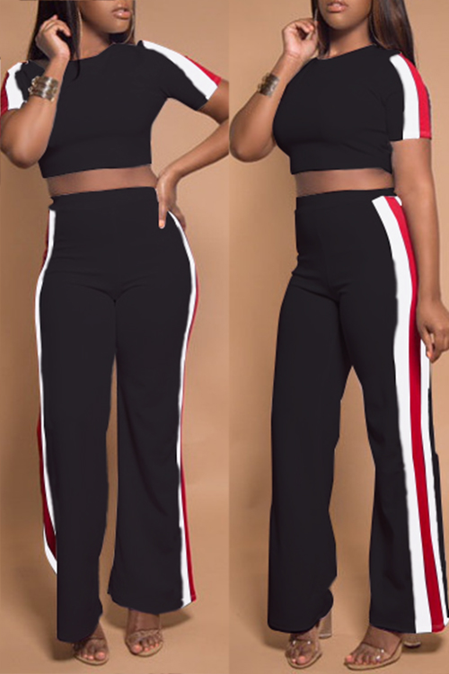 LovelyCasual Round Neck Striped Black Two-piece Pants Set