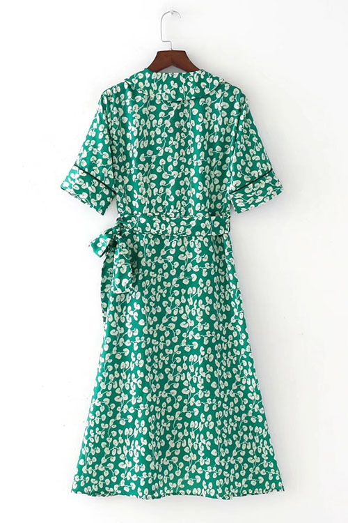 Lovely Casual Turtleneck Printing Green Cotton Blends Knee Length Dress