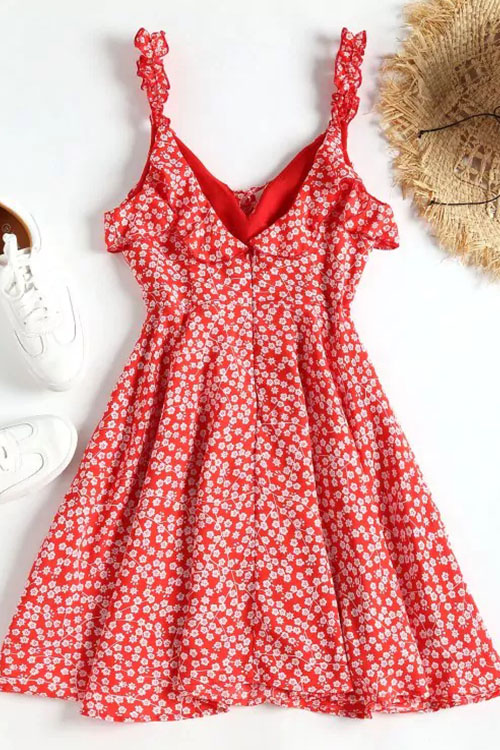 Lovely Nifty V Neck Floral Printed Flounce Red Mini Dress