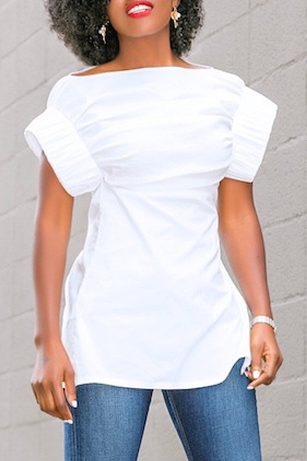 LovelyPolyester Casual Solid Short Sleeve  T-shirt