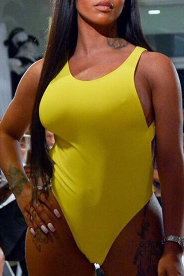 Lovely Trendy Round Neck Hollow-out Yellow One-piece Swimwears