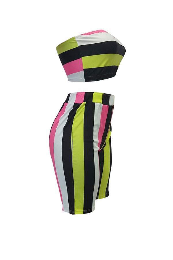 LovelyFashion Bateau Neck Non Positioning Striped Printed Two-piece Shorts Set