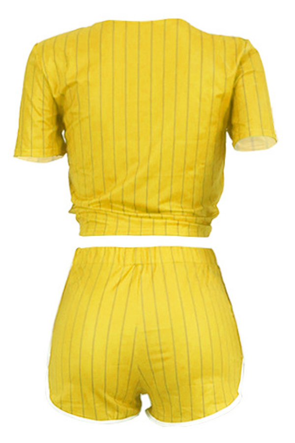 Lovely Casual V Neck Letter+Striped Printed Yellow Qmilch Two-piece Shorts Set