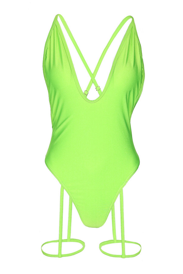 Lovely Fashion V Neck Green One-piece Swimwears(Kind Prevail)