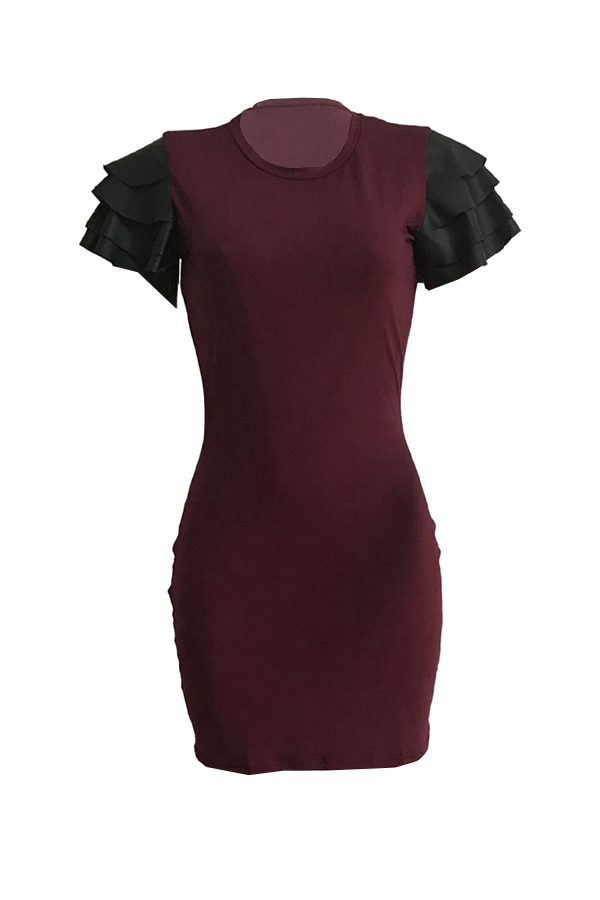 Lovely Casual Round Neck Flounce Wine Red Qmilch Mini Dress