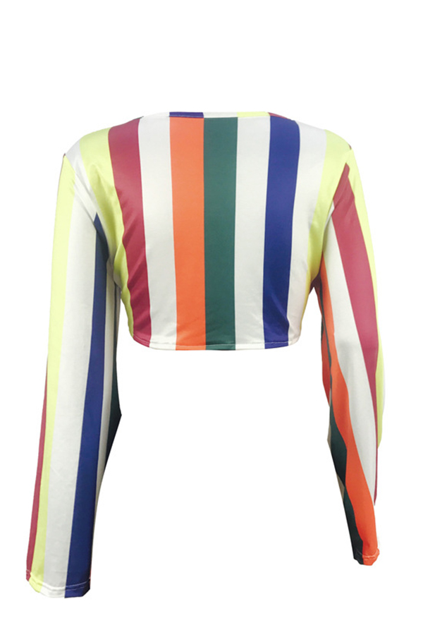 Lovely Casual V Neck Colorful Striped Qmilch Shirts