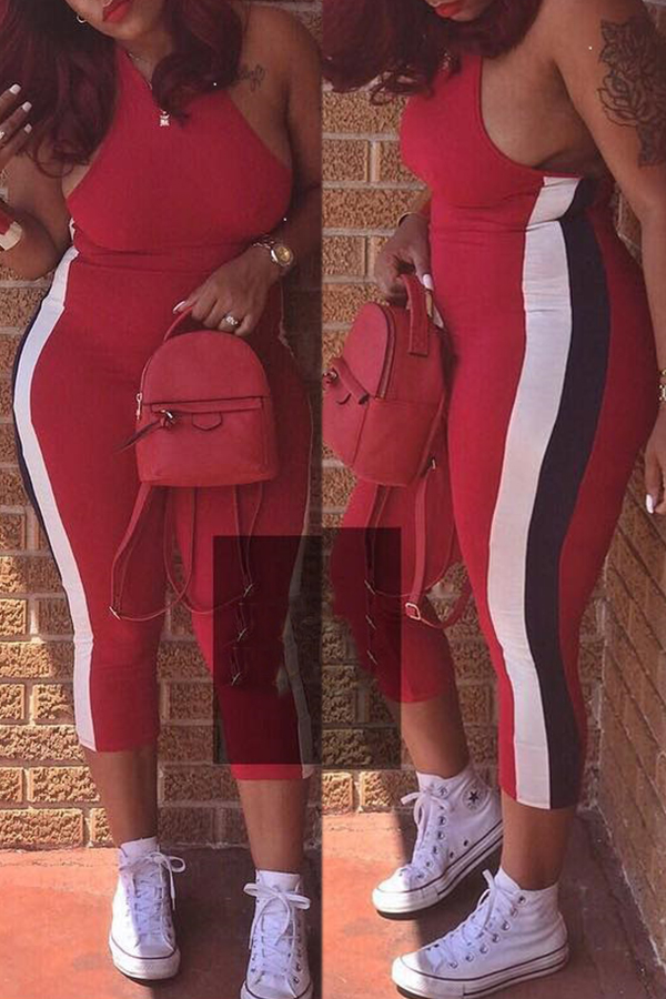 Lovely Casual Patchwork Red Rompers
