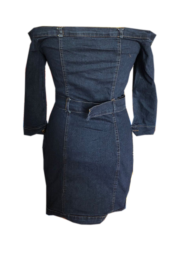 Lovely Trendy Dew Shoulder Blue Denim Mini Sheath Dress