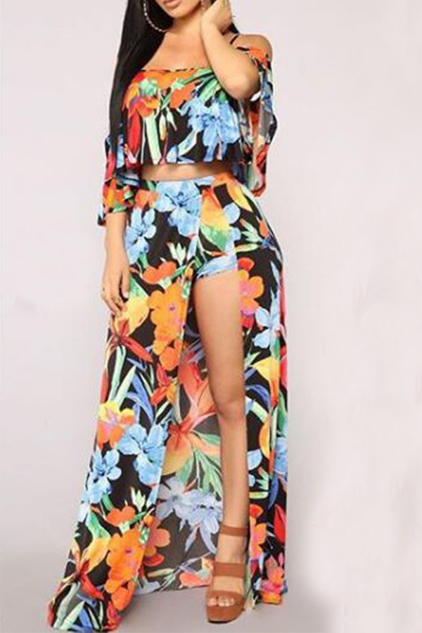 Lovely Trendy Dew Shoulder Printed Two-piece Shorts Set