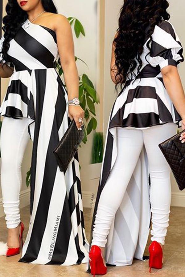 LovelyChic Show A Shoulder Irregular Design Black+White Striped Cotton Blends Shirts