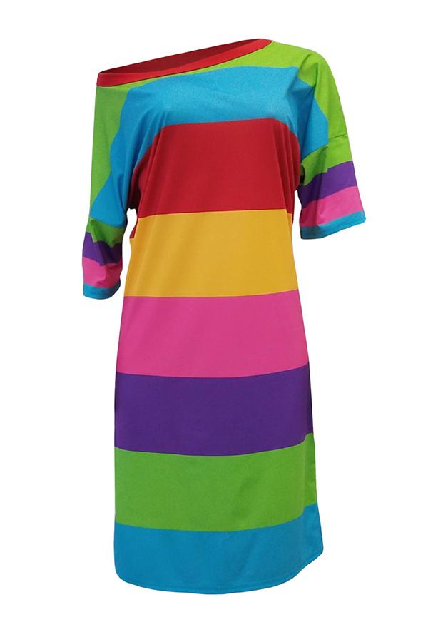 Lovely Casual Stripesd Knee Length Dress