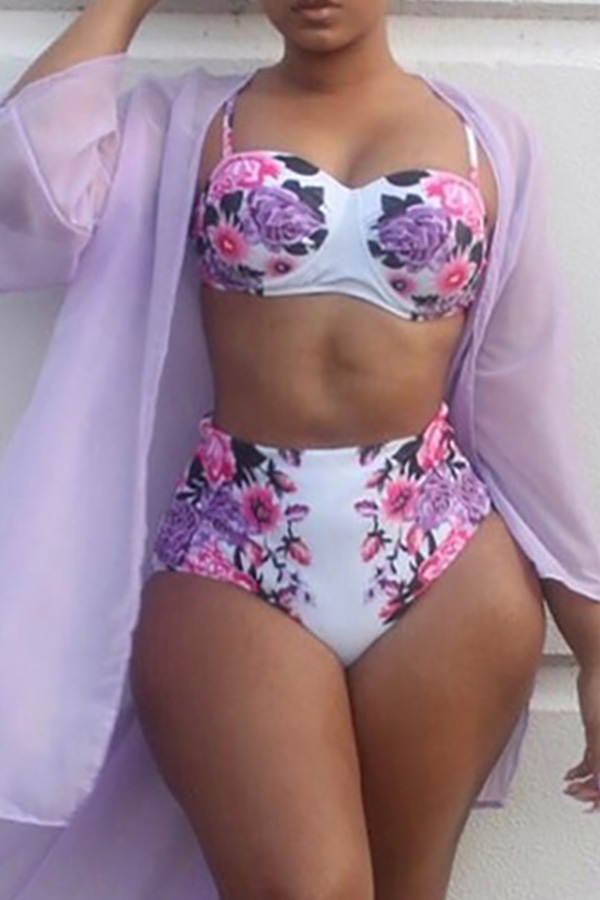 LovelySexy Printed White Polyester Two-piece Swimwear (Without  Shawl)