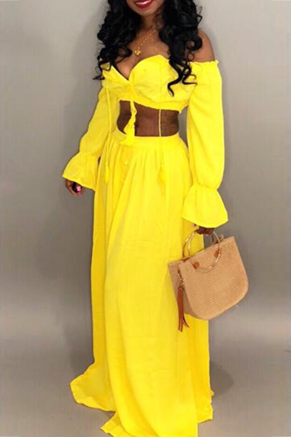 Lovely Sexy Dew Shoulder Yellow Chiffon Two-piece Skirt Set