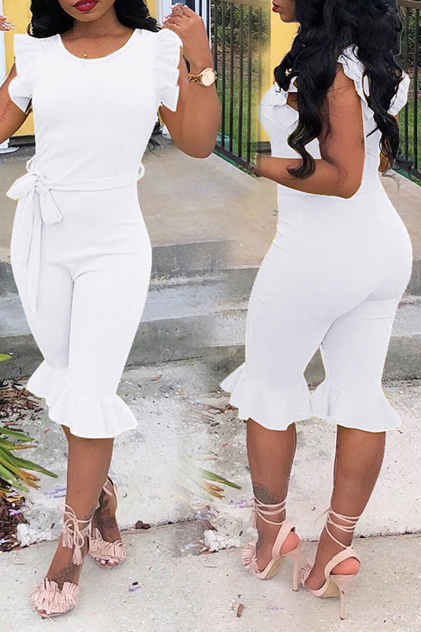 Lovely Trendy Round Neck Flounce White One-piece Romper
