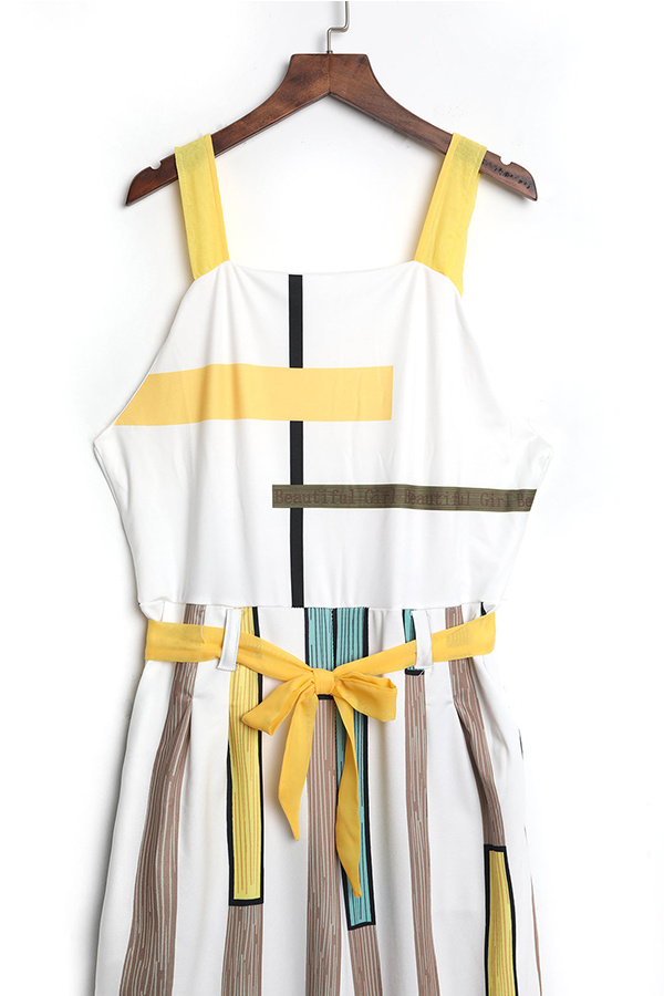 LovelyChic Dew Shoulder Geometric Printed White Polyester One-piece Jumpsuits
