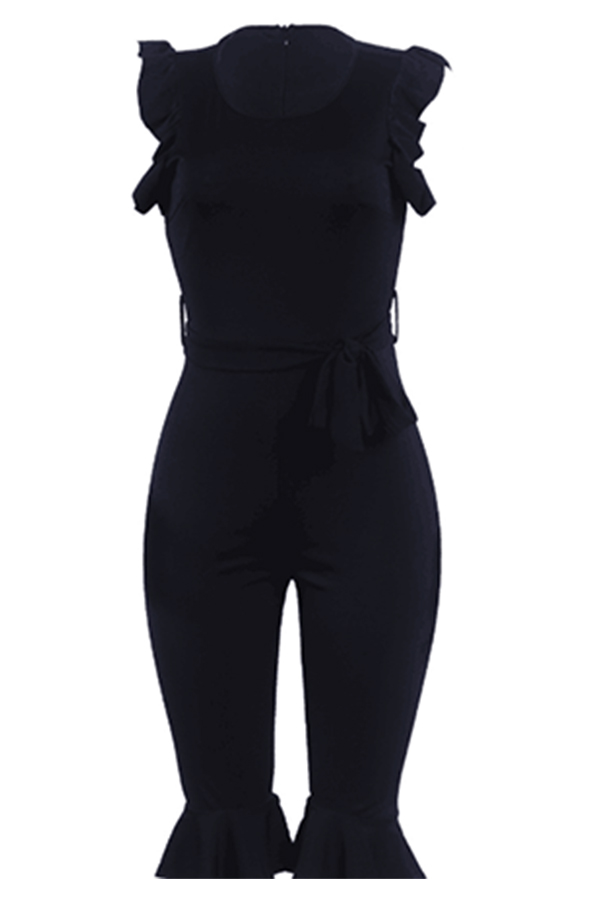 Lovely Pretty Round Neck Flounce Black One-piece Romper