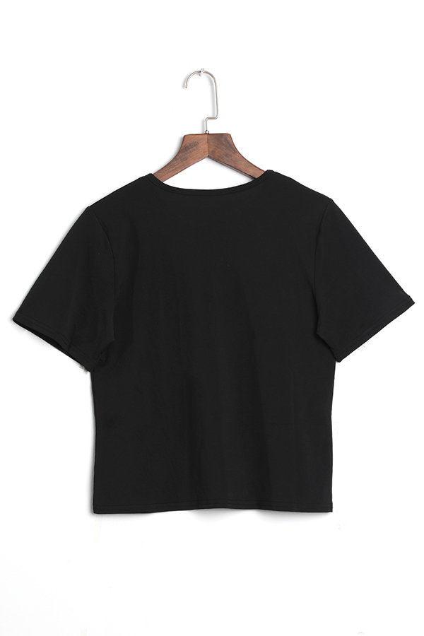 LovelyCasual Round Neck Letter Printed Black Polyester T-shirt