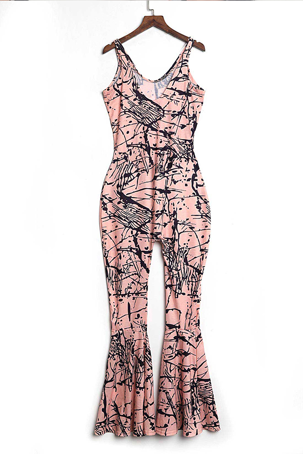 LovelyTrendy U Neck Printing Pink Spandex One-piece Jumpsuits