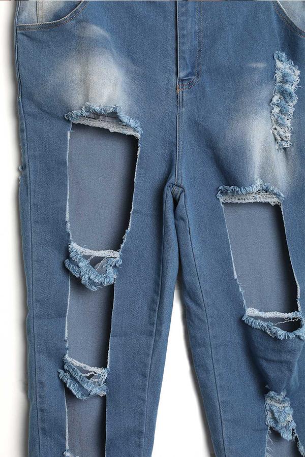 LovelyEuramerican High Waist Broken Holes Blue Denim Shorts