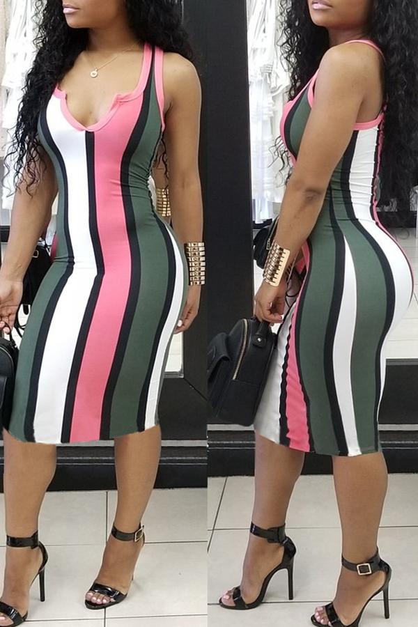 LovelyTrendy V Neck Striped Pink Sheath Mid Calf Dress