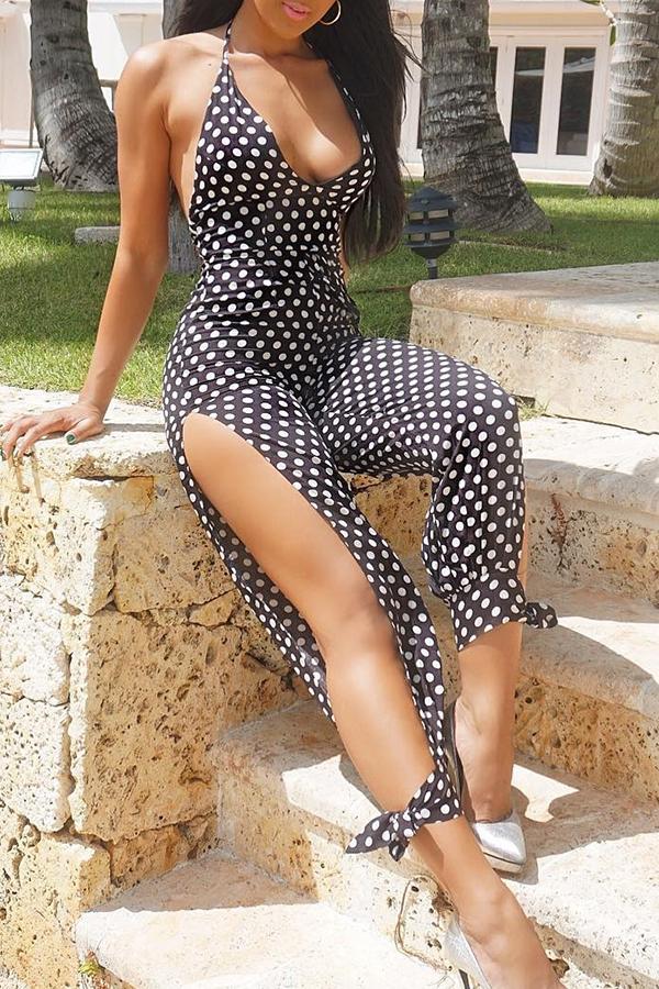 Lovely Sexy V Neck Polka Dot  Printed Black One-piece Jumpsuit